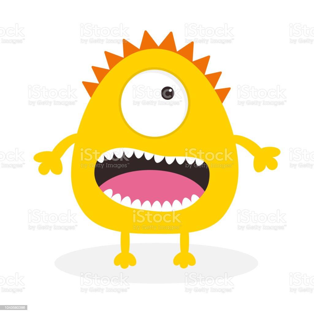 Gelbe Karte Lustig.Gelbe Monster Mit Einem Auge Zähne Zunge Lustige Niedlichen Cartoon