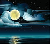 Yellow moon and night cloudy sky