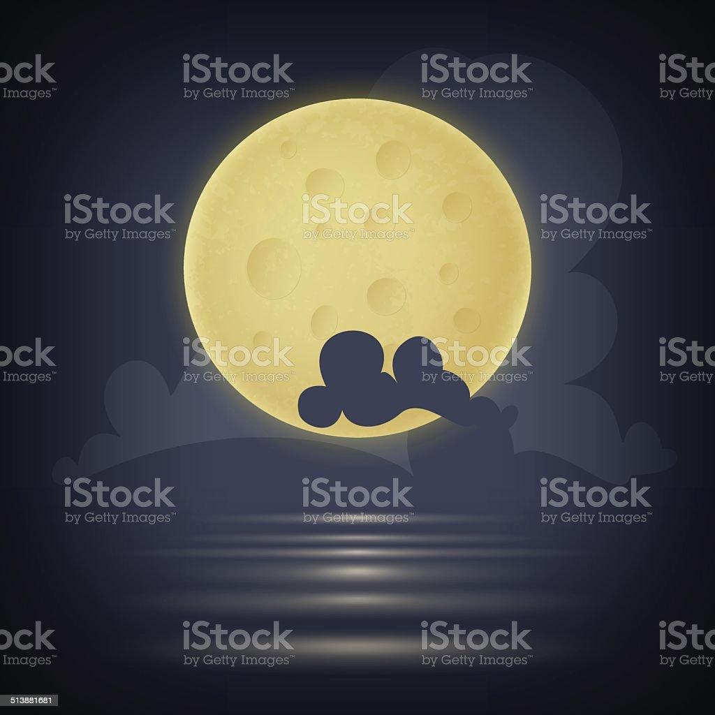 Yellow moon. Vector illustration vector art illustration