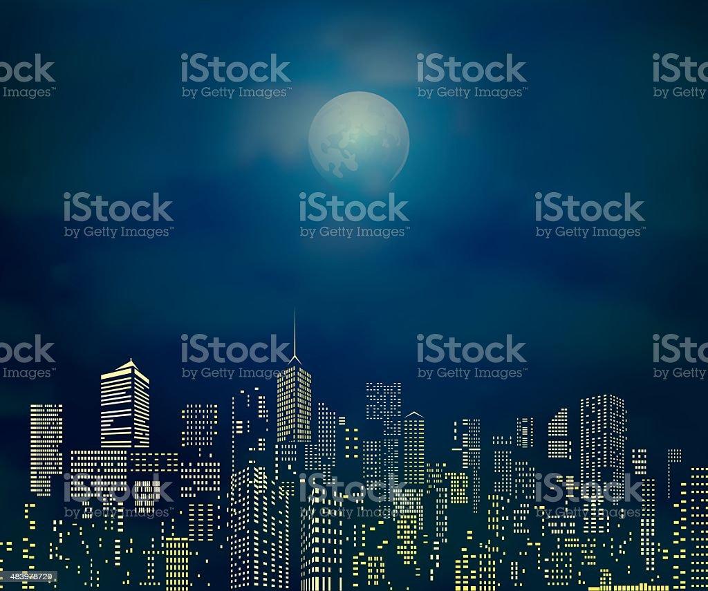 yellow moonlight city vector art illustration