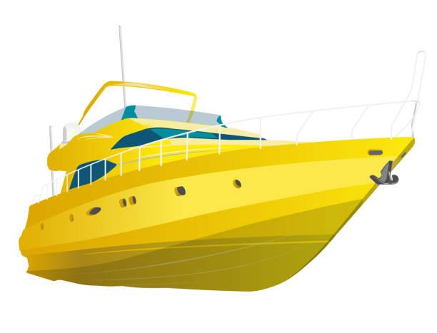 illustrations, cliparts, dessins animés et icônes de bateau a moteur jaune. yacht de mer pour la pêche et de loisirs. cher bateau à moteur de luxe. - voilier à moteur