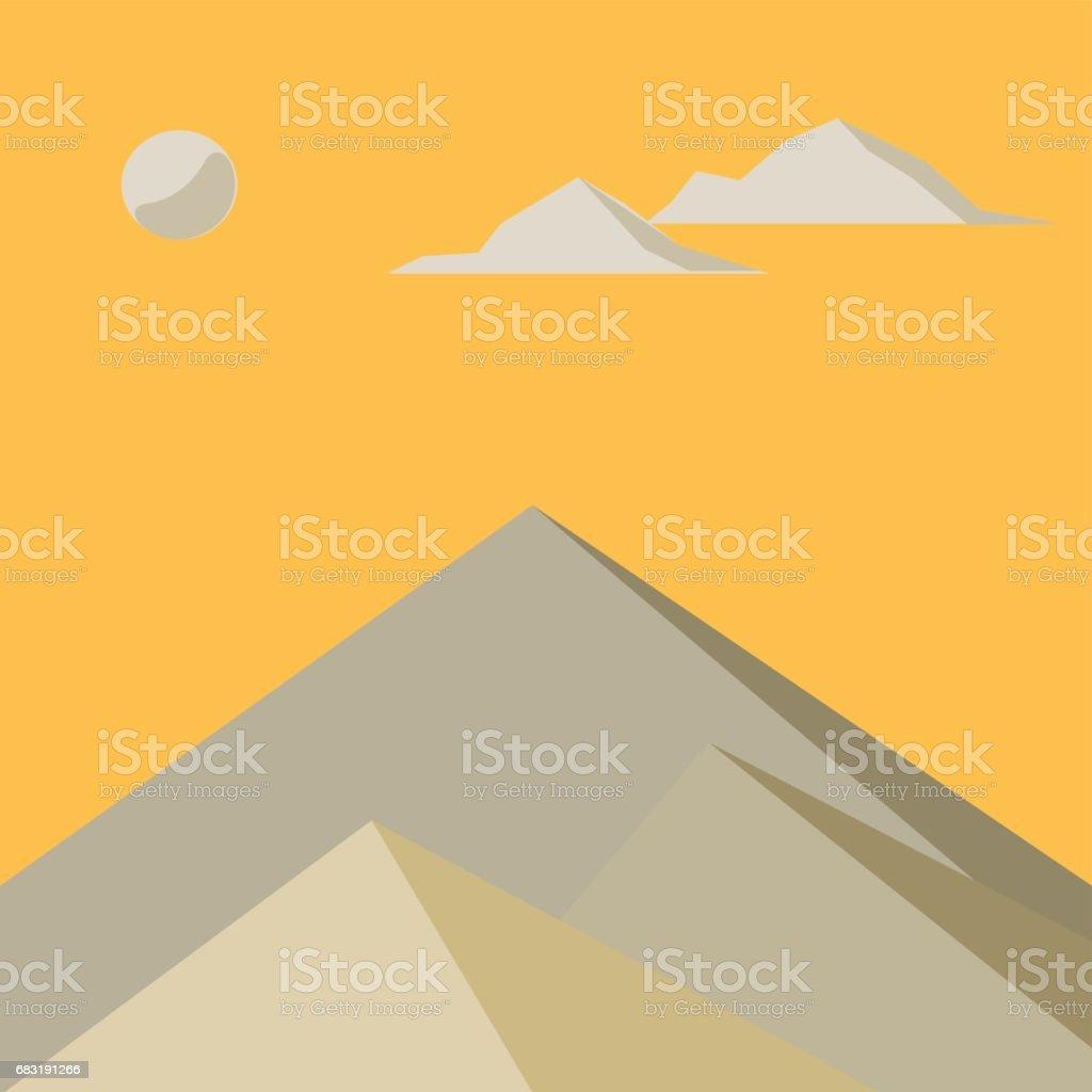 在霧中的黃色山。向量圖。 免版稅 在霧中的黃色山向量圖 向量插圖及更多 側影 圖片
