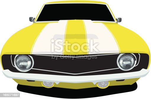 Vector Illustration of a 1969 Chevrolet Camaro, saved in layers for easy editing if needed.