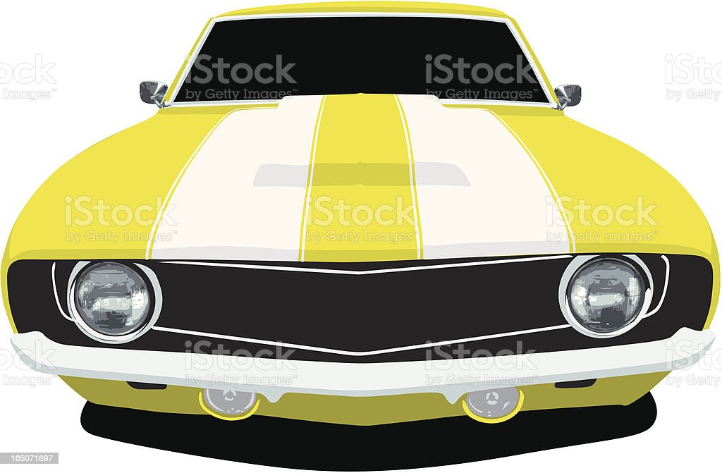 Yellow Muscle Car Front vector art illustration
