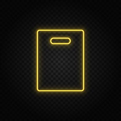 Yellow neon icon bag, shopping.Transparent background. Yellow neon vector icon