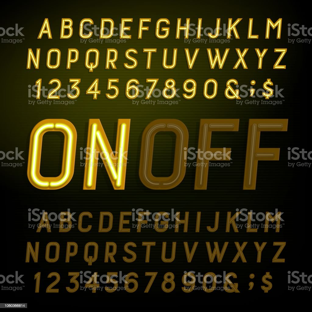 yellow neon light alphabet font lights on or off type letters numbers and