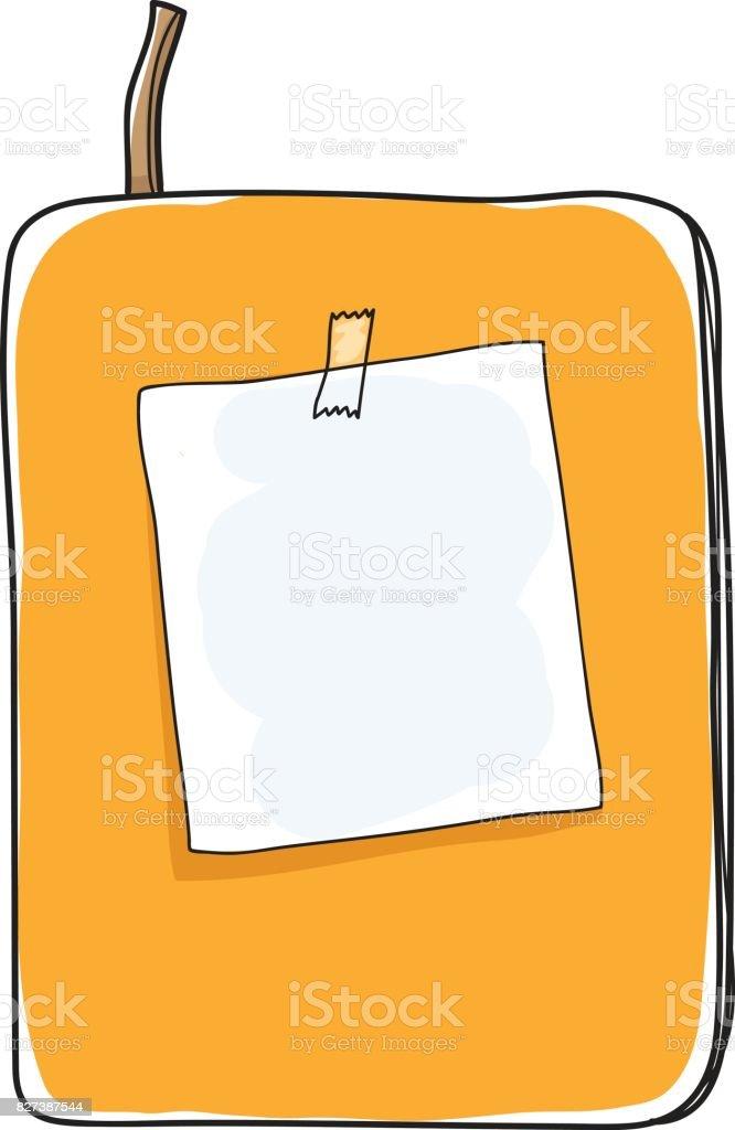 黄色のノートとメモ紙手描きアート ベクトルかわいいイラスト からっぽ