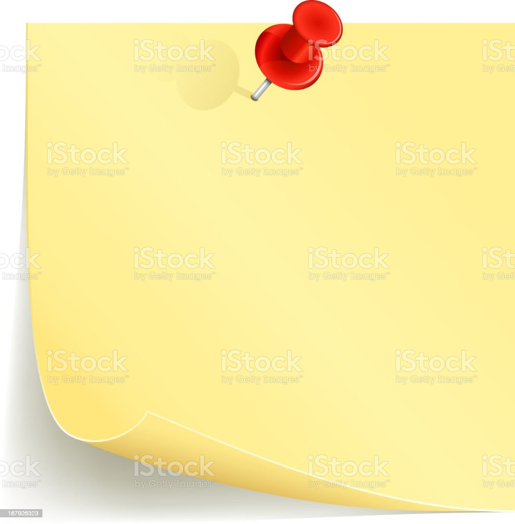 Yellow notepad pinned to the wall by red thumbtack vector art illustration