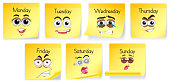 Yellow notes with days of the week and facial expressions