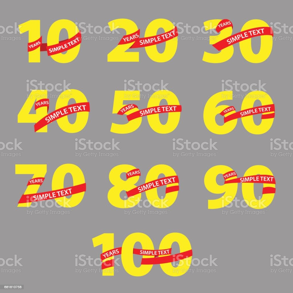 Yellow numbers with red ribbons anniversary vector art illustration