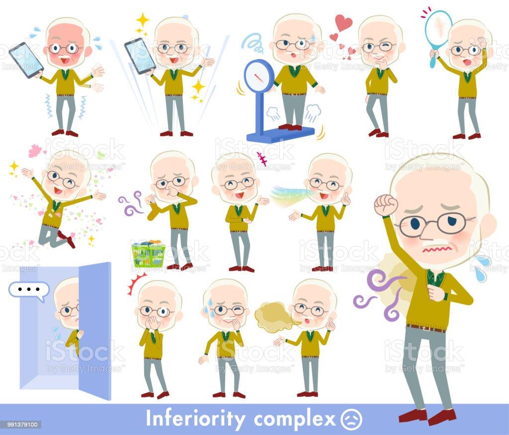 Yellow Ocher knit old man White_complex vector art illustration