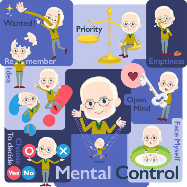 yellow ocher knit old man white_mental & volition - old man puppet stock illustrations, clip art, cartoons, & icons