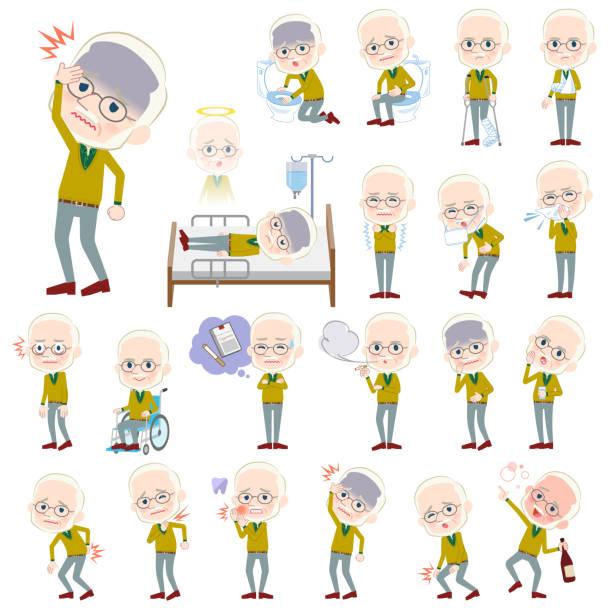 yellow ocher knit old man white_sickness - old man mask stock illustrations