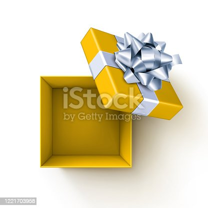 istock Yellow Open Gift Box 1221703958