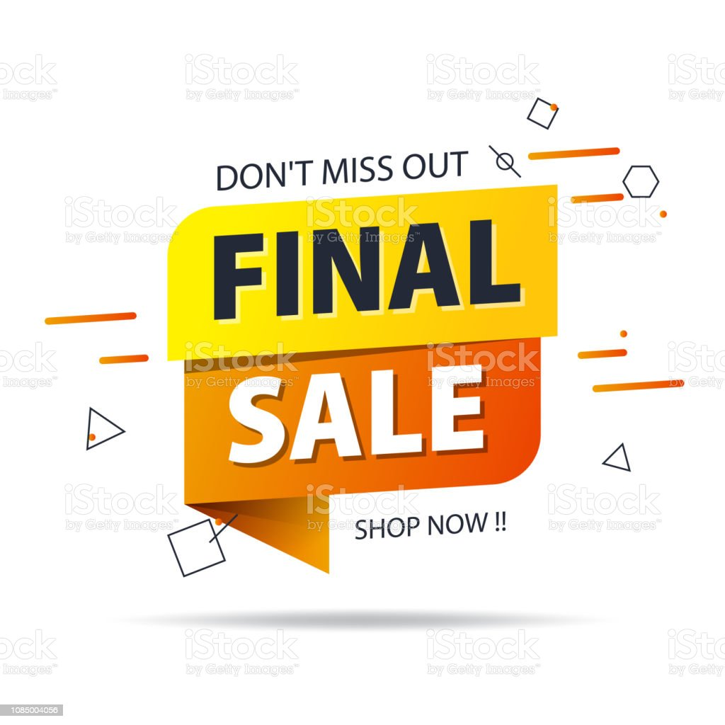 Yellow Orange Tag Final Sale Promotion Website Banner Heading Design