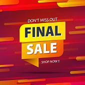 Yellow orange tag final sale promotion website banner heading design on graphic red background vector for banner or poster. Sale and Discounts Concept.