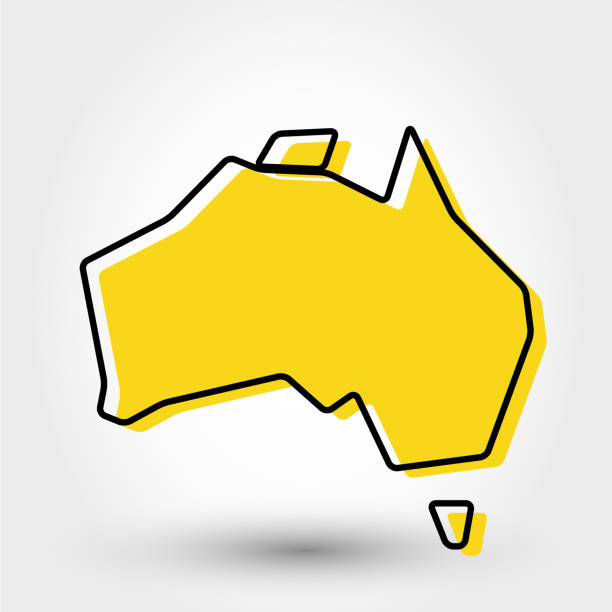 ilustraciones, imágenes clip art, dibujos animados e iconos de stock de mapa de contorno amarillo de australia - australia