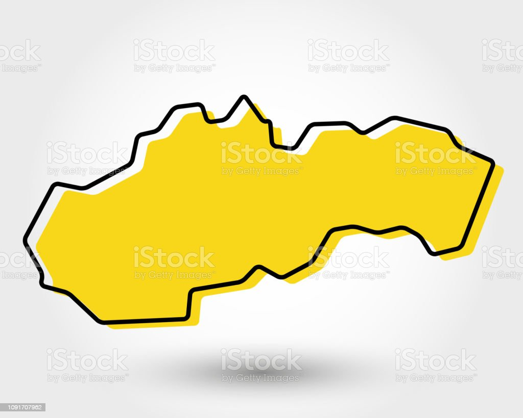 yellow outline map of Slovakia vector art illustration
