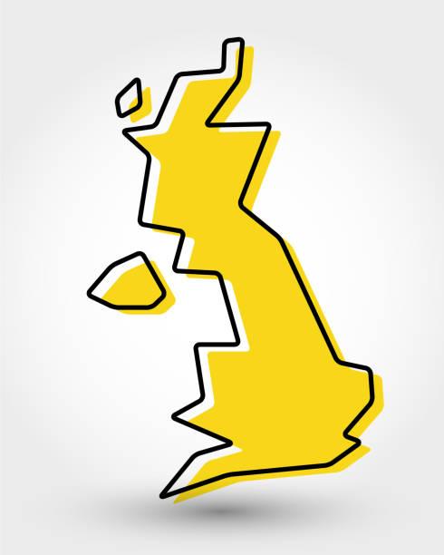 ilustrações, clipart, desenhos animados e ícones de mapa de contorno amarelo do reino unido - reino unido