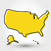 yellow outline map of USA, stylized concept