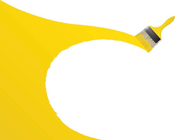 Żółty Pędzel do malowania – artystyczna grafika wektorowa