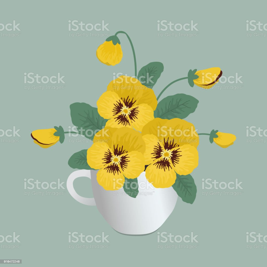 Yellow Pansy Flowers In A White Cup On A Gray Background Stock