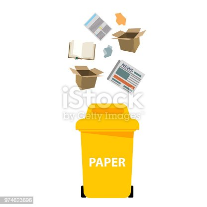 istock Yellow Paper Bin White Background Vector Image 974623696