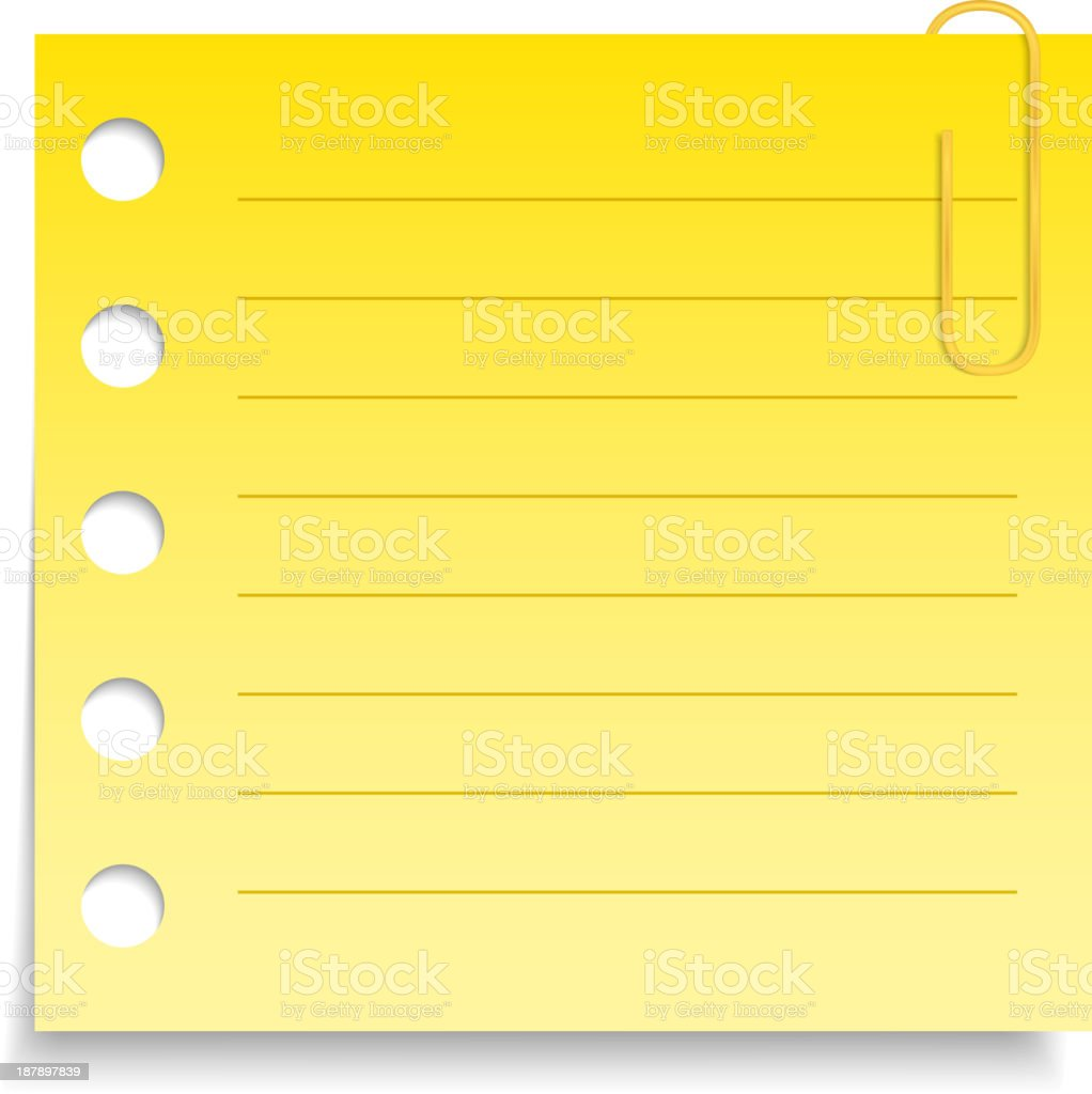 Yellow Paper Note royalty-free stock vector art