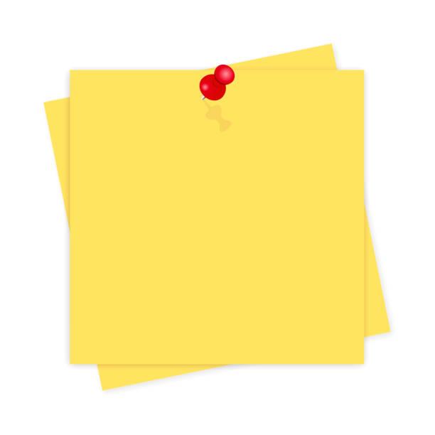 gelbes papier, erinnerung mit schatten auf weißem hintergrund - klebezettel stock-grafiken, -clipart, -cartoons und -symbole