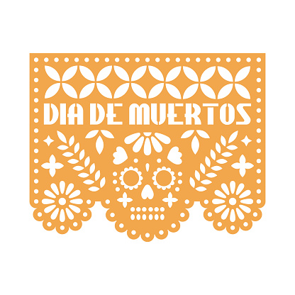Yellow paper with cut out flowers and geometric shapes. Papel Picado vector template design isolated on white background. Traditional Mexican paper garland for celebrating Day of the Dead.