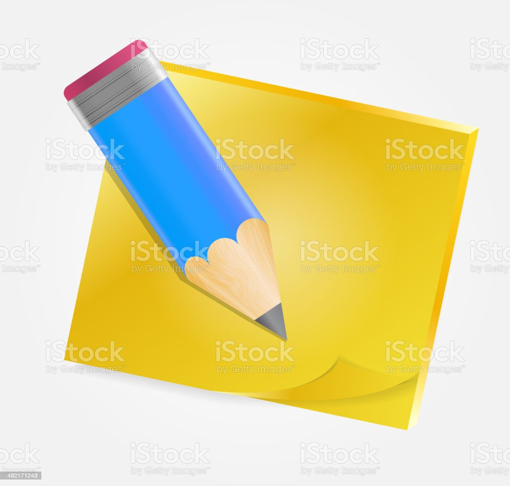 Yellow paper with pencil  vector illustration royalty-free yellow paper with pencil vector illustration stock vector art & more images of abstract