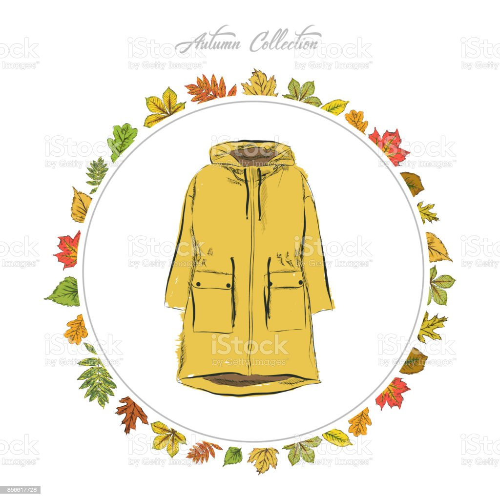 Yellow Parka Jacket Hand Draw Clothes Autumn Collection Frame Of ...