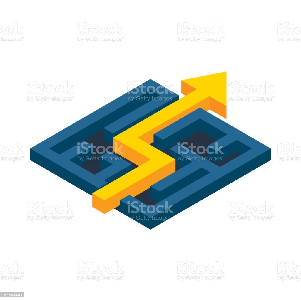 Yellow path with arrow across labyrinth icon royalty-free yellow path with arrow across labyrinth icon stock vector art & more images of abstract
