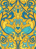 Yellow pattern with birds.