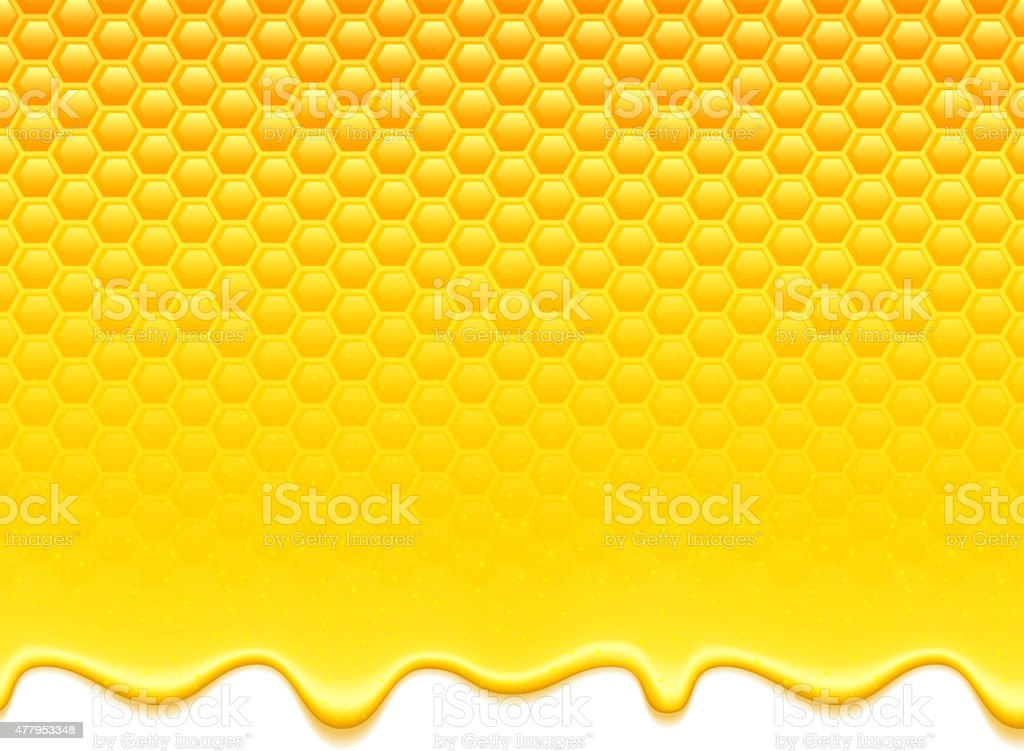 Yellow pattern with honeycomb and honey drips vector art illustration