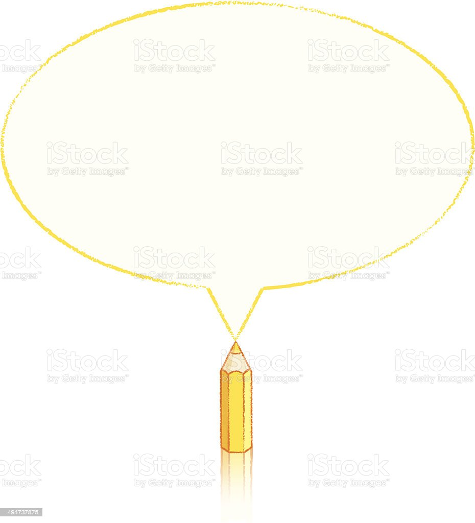 Yellow Pencil Drawing Oval Speech Balloon royalty-free yellow pencil drawing oval speech balloon stock vector art & more images of acute angle