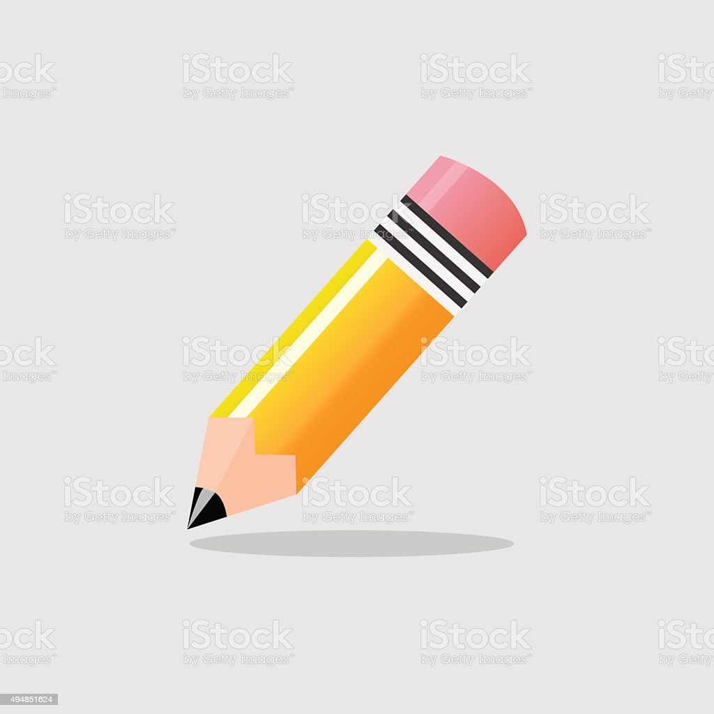 Yellow Pencil isolated. Vector EPS10 illustration.