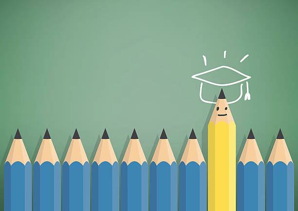 Yellow pencil stand out from the blue pencil with graduation. vector art illustration
