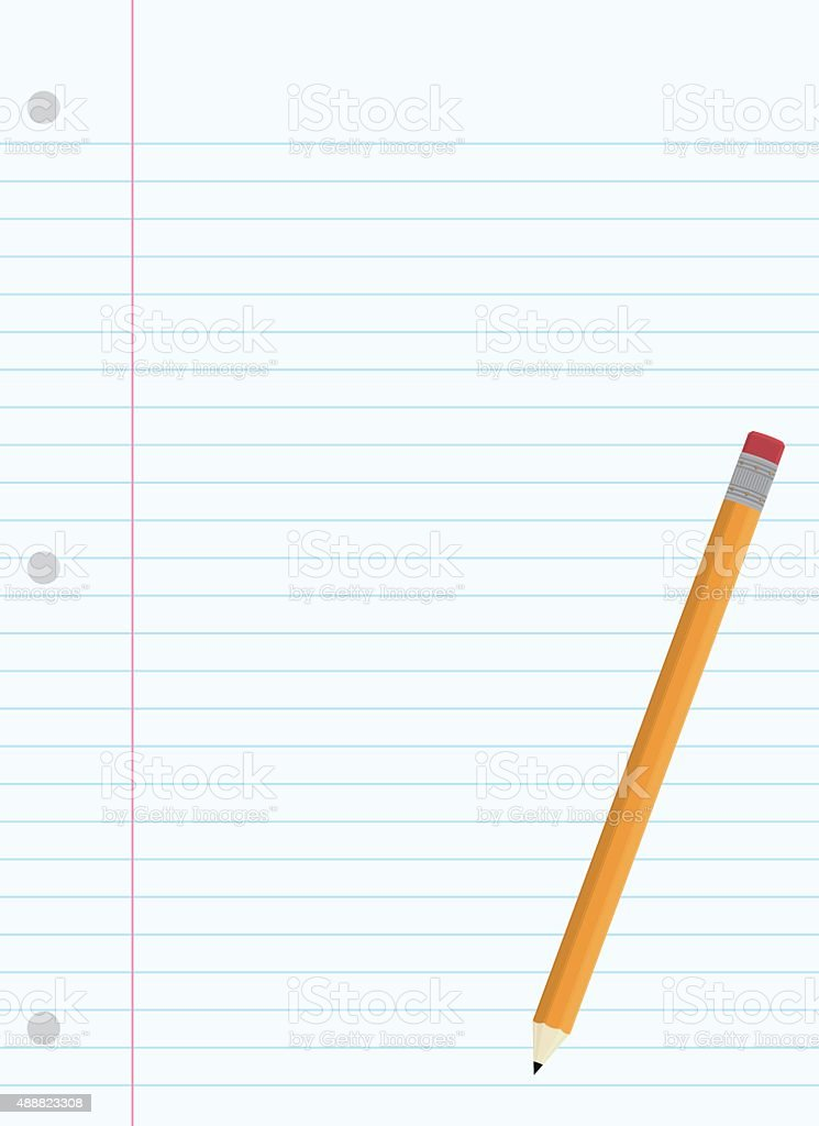 Yellow Pencil with Pink Eraser and Lined Paper vector art illustration