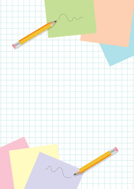 yellow pencils scribbles and post-it papers on copypaper background - post it notes stock illustrations
