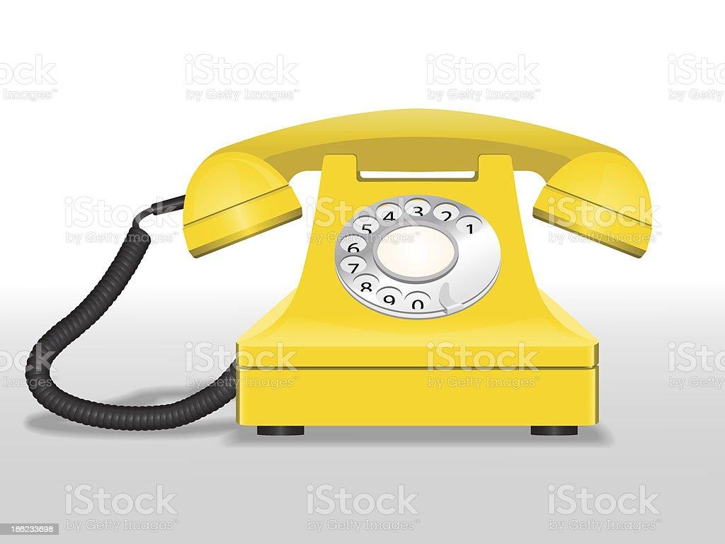Yellow phone vector art illustration