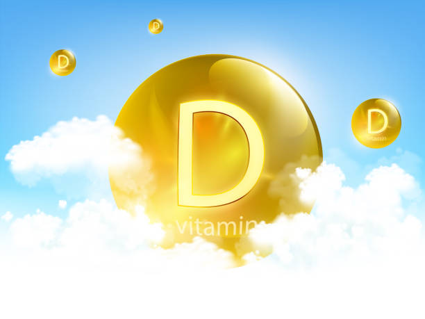 yellow pill vitamin d against blue sky with clouds - vitamin d stock illustrations