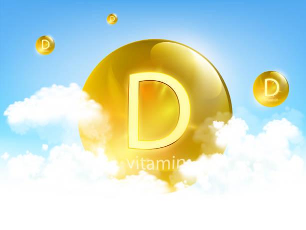 구름과 푸른 하늘에 대한 노란색 알약 비타민 d - vitamin d stock illustrations