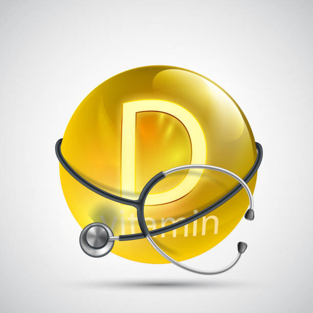 yellow pill vitamin d with a medical equipment stethoscope. - vitamin d stock illustrations