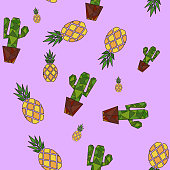 istock yellow pineapple and green cactus on a lilac background. seamless geometric pattern 1327683558