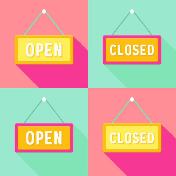 illustrazioni stock, clip art, cartoni animati e icone di tendenza di giallo rosa ciano aperto e chiuso cartelli set - cartello chiuso