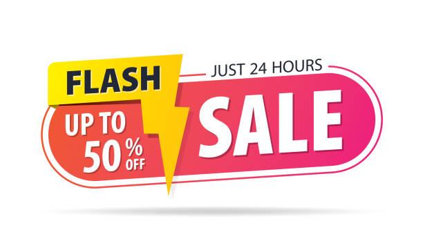 illustrations, cliparts, dessins animés et icônes de tag rose jaune vente flash 24 heures 50 pour cent de réduction promotion site web bannière rubrique design sur fond blanc graphique vecteur pour bannière ou une affiche. vente et concept de remises. - éclairage au flash