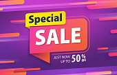 Yellow pink tag Special sale 80 percent off promotion website banner heading design on graphic purple background vector for banner or poster. Sale and Discounts Concept.