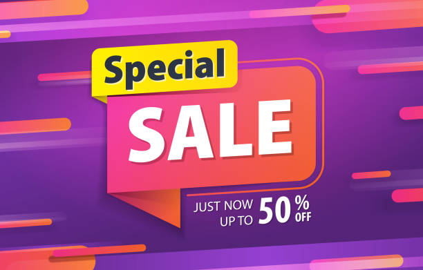 yellow pink tag special sale 80 percent off promotion website banner heading design on graphic purple background vector for banner or poster. sale and discounts concept. - sales stock illustrations
