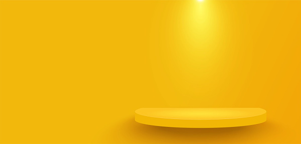 Yellow platform decorated with lighting on yellow wall background. Pedestal scene with for product, advertising, show. Semicircular geometric base for your graphic. Copy space. Vector illustration.